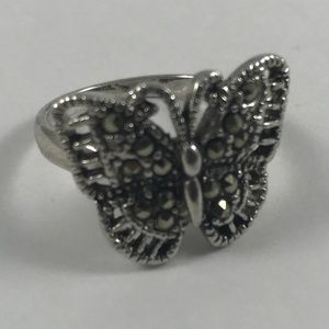 Vintage Marcasite Butterfly Ring, Size 5.5